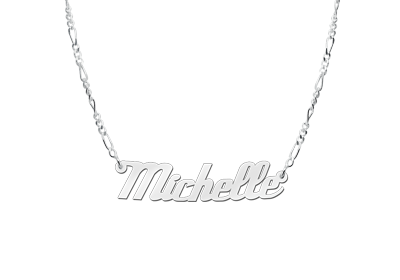 Zilveren naamketting model Michelle2