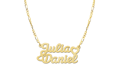 Gouden naamketting model Julia/Daniel2