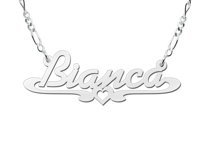 Zilveren naamketting model  Bianca