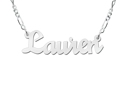 Zilveren naamketting model Lauren